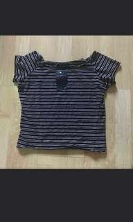 BNWT Brandy Melville Rin Navy And White Double Stripe Top