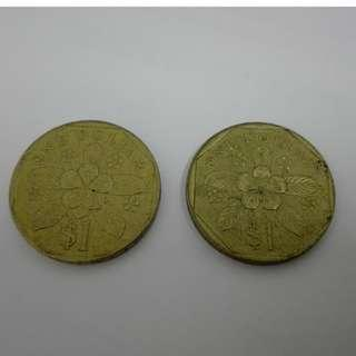 (CN 0106) 1988 & 89 Singapore 1 Dollar Coin x 2