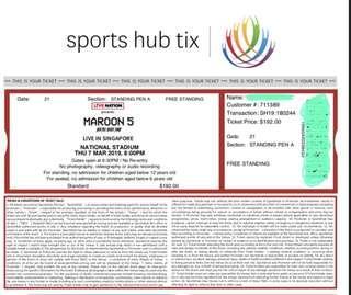 Pair ticket Maroon 5