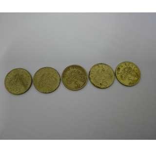 (CN 0107) 1986 - 90 Singapore 5 Cents x 5