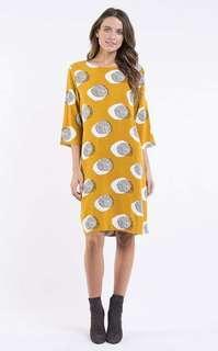 Elm Mustard dandelion dress size 8 boho gypsy