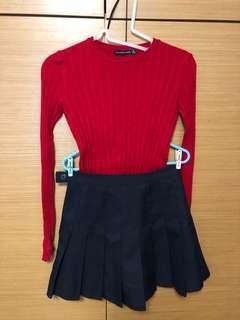 Red top 紅色 冷衫 bershka