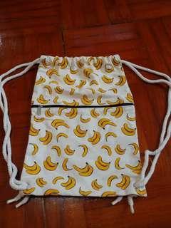 全新輕便布料背包 香蕉圖案 48x32cm