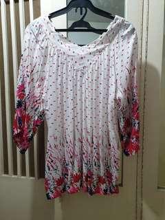 Summer pink floral blouse