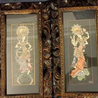 Balinese art pieces with frame