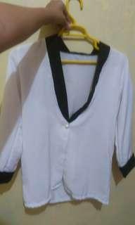 Outer blazer putih hitam kantoran