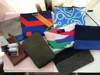 Multiple business class pouches -one full