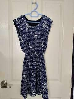 Dress - Blue with Musical Note Prints