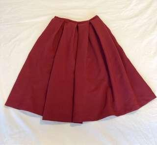 🚚 Midi pleated skirt in red wine