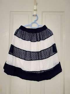 Skirt - Blue White Stripe Lace