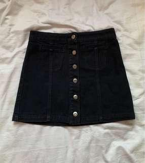 Black Corduroy Button Down Skirt