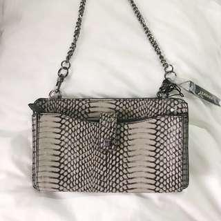 SALE! Antonio Melani Taupe Snake Leather Crossbody Bag with Chain Strap