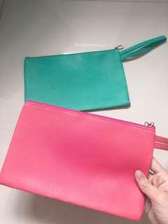 hot pink & turquoise pouch