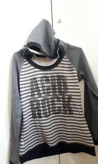 Grey Hoodie sweater atasan baju lengan panjang