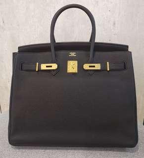 18c09f23c32c Like New Hermes Birkin 35 Black Togo ghw Stamp Q
