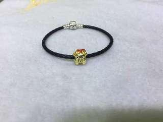 New arrival black leather with gold pig charm