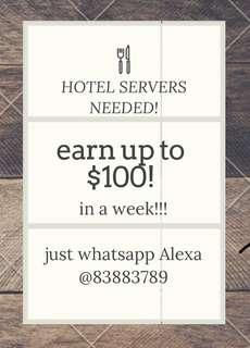 🚚 PART TIME HOTEL SERVERS NEEDED!!!!!
