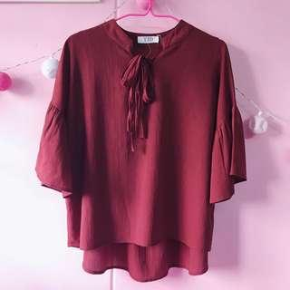 🚚 Flutter Sleeve Top in brick red