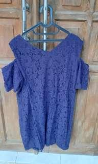 Jual dress brukat warna biru