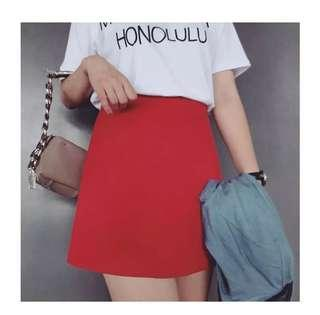 Classic A Line Red Skirt