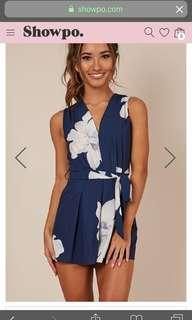 Wishbone Playsuit In Navy Floral  Size:  6 (XS)