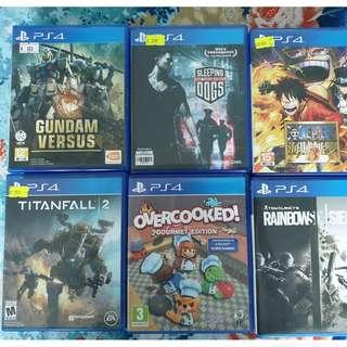 PlayStation PS4 Games - Gundam, One Piece, Titanfall, Overcooked, Rainbow Six