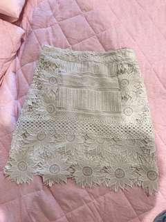 Topshop lace white A line skirt