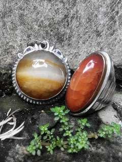 Gemstone (Akik) Sepaket Cincin dan Mata Liontin Batu Pandan Sukabumi