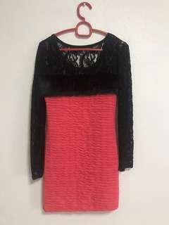 🚚 Black Lace Pink Dress