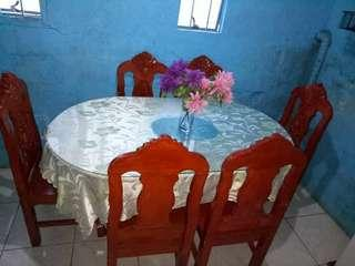 Dinning table with glass and 6 chairs