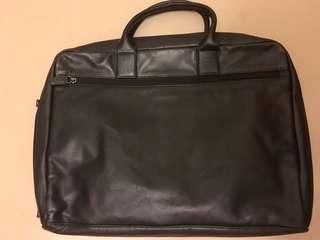 Black Leather Briefcase 羊仔皮真皮公事包