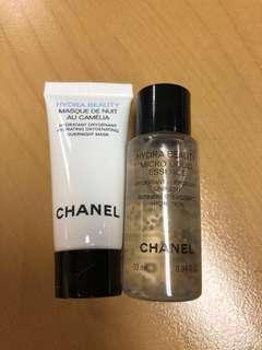 Chanel hydra beauty essence and overnight mask sample