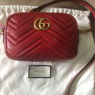 Gucci GG Marmont matelasse mini bag in red leather - crossbody