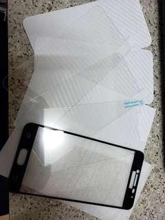 (全新)三星C5,8件裝:機套 + 鋼化玻璃貼 +機背貼