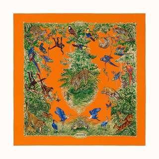 🚚 Brand new Hermes Equateur Wash Scarf 90 in Orange/Vert/Bleu