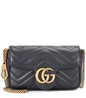 可刷卡可分期**現貨 Gucci GG Marmont MINi 黑色 鏈袋 肩背包+腰包