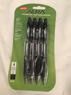 Staples Aura retractable gel pens
