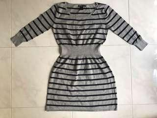 🚚 Mango grey striped knit dress UK10