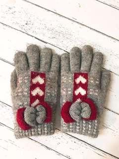 🚚 灰/紅蝴蝶結可愛溫暖手套