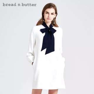 斯文裙 Bread n butter 白 藍領蝶結 簡單高雅