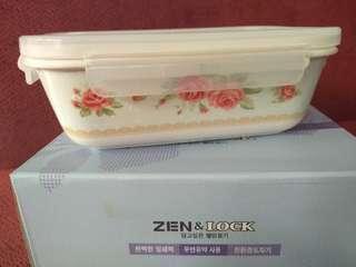Wadah Makanan Keramik Kedap udara Zen & Lock The rose 400 ml