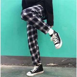 韓國闊腿格子褲