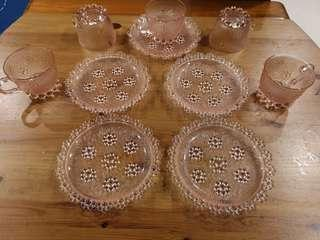 Vintage pink bubble glass plates and cups set
