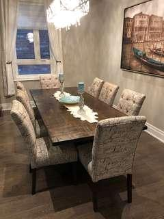 Dining Room Accent Chairs & Custom Made Solid Wood Table