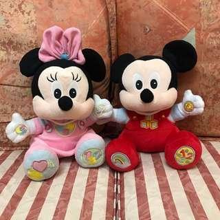 正品 迪士尼 Disney Mickey Minnie 米奇 米妮 30cm 毛公仔 一對不散賣