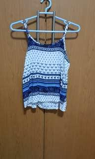 Statementmuse blue and white floral tribal print cami/ top
