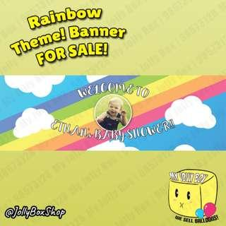 20 x 60 Inch Banner For Sale   Perfect for Parties   Rainbow Theme