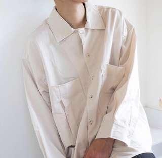 🚚 米白 寬鬆 雙口袋 襯衫 oversize 薄外套