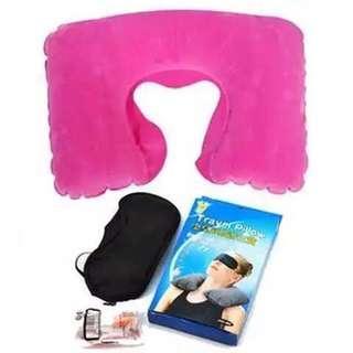 🚚 Instock Inflatable Pillow + Eye Mask + 1 Pair Noise Prevention Earplug for Travelling