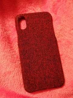 iPhone X Case 暗紅黑色線面